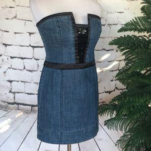 Bebe Black Sequin and Denim Strapless Mini Dress